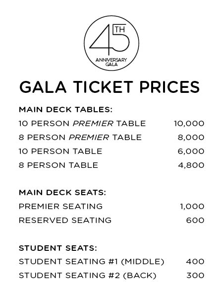 CC Int Gala - Pricing