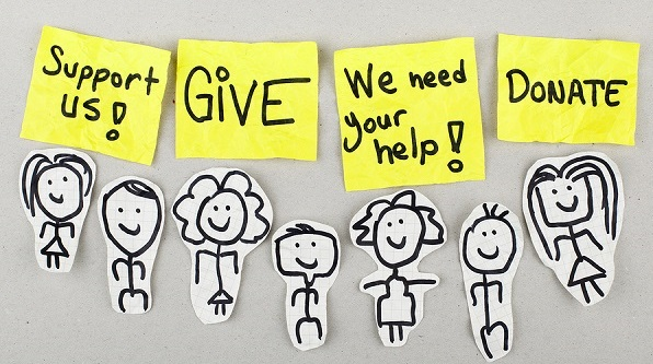 Support give help donate words concept with sketch people