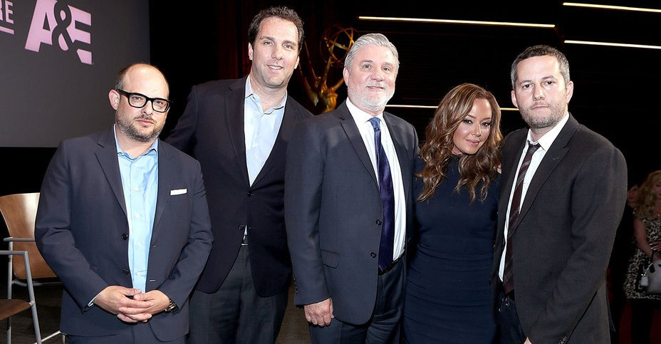 Aaron (far right) with his partner Eli Holzman (far left) and Matthew Belloni then Editor of The Hollywood Reporter, Leah and me
